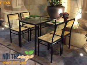 bàn ghế chân sắt mặt gỗ CF68 giá rẻ