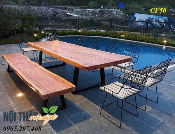 Bộ Bàn ghế gỗ nguyên tấm CF50 đẹp được sáng tạo không gian theo yêu cầu của bạn