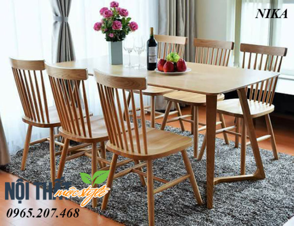 Ghế gỗ Nika đẹp dễ kết hợp với bàn ăn chung cư, nhà hàng hiện đại