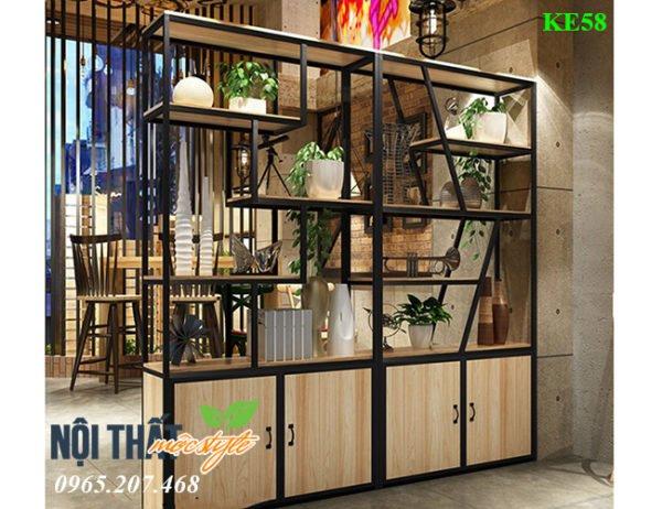 Kệ trang trí KE58 có tủ để đồ cho nhà hàng, salon, spa...