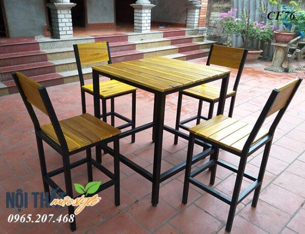 Bàn ghế bar CF76 chân sắt mặt gỗ siêu bền, đẹp, giá rẻ nhất Hà Nội