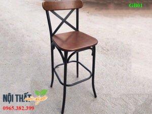 Ghế quầy bar QB01 chân sắt mặt gỗ đẹp