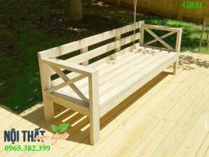 Ghế băng gỗ GB31 đẹp khoẻ khoắn cho không gian cafe sân vườn, cafe mộc