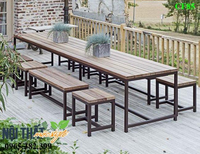 Bàn ghế nhà hàng CF85 cho không gian nhà hàng ngoài trời, sân vườn đẹp mộc mạc, giản đơn