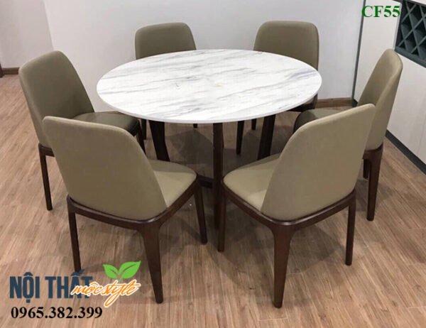 Sử dụng bàn tròn mặt đá Grace CF55 dễ dàng ghép ghế