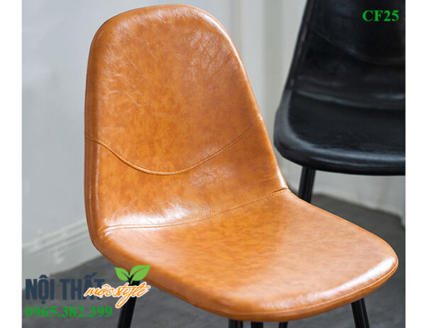Thiết kế lưng tựa và mặt ngồi ghế cafe Eames CF25 bọc nệm da êm ái