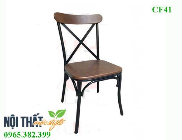 Ghế cafe CF41 - Ghế chân sắt mặt gỗ giá rẻ