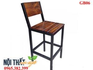 Mẫu ghế bar chân sắt mặt gỗ GB06 đậm chất Rustic Style