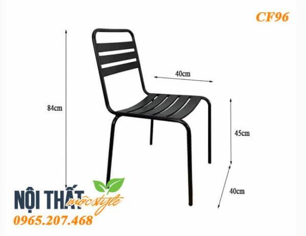 Kích thước tiêu chuẩn ghế sắt cafe CF96, kiểu dáng đơn giản, gọn gàng