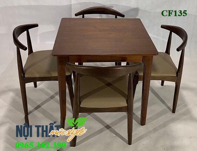 Bàn ghế cafe CF135, bàn ghế gỗ hiện đại, mộc mạc