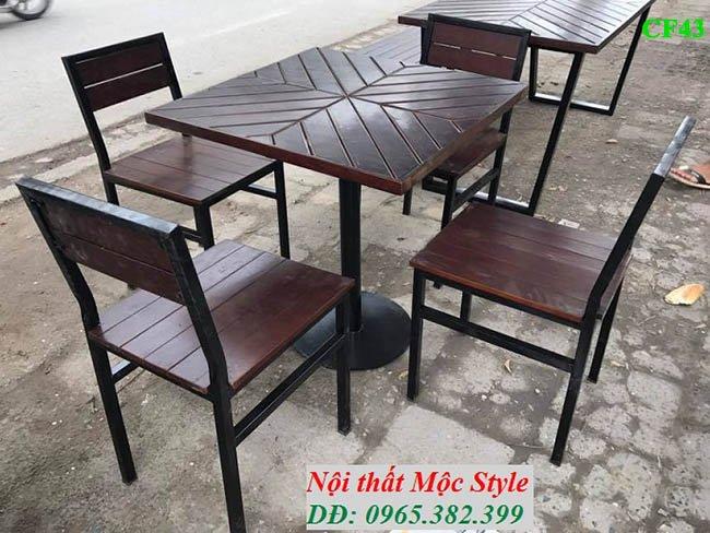 Bàn ghế cafe CF43, bàn ghế cafe ngoài trời giá rẻ tại Nội thất Mộc Style